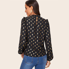 Load image into Gallery viewer, Gold Dot Print Lantern Sleeve Blouse Black Trim Top
