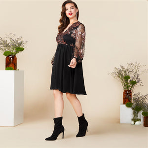 Plus Size Black V Neck Floral Contrast Sequin Mesh Sleeve Flare Dress