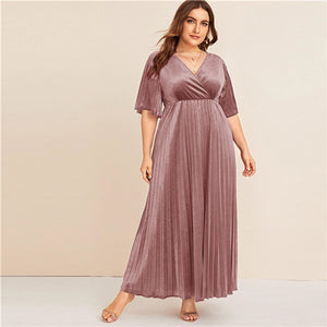 Plus Size Flutter Sleeve Pleated Velvet Dress Women Autumn Winter V Neck A Line Empire Glamorous Party Maxi Dresses