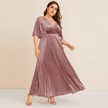 Load image into Gallery viewer, Plus Size Flutter Sleeve Pleated Velvet Dress Women Autumn Winter V Neck A Line Empire Glamorous Party Maxi Dresses