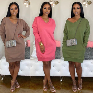 Women's Solid Loose V-Neck Long Sleeve Sweatshirt Dress