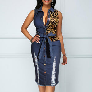Women's Denim Leopard Sleeveless knee-length Dress