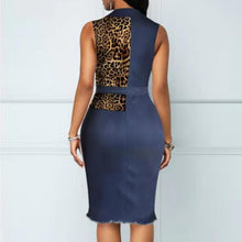 Load image into Gallery viewer, Women's Denim Leopard Sleeveless knee-length Dress