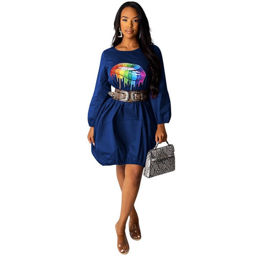 Women's Lip Print Lantern Sleeve Casual Shirt Balloon Dress