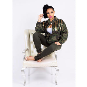 Camouflage Drawstring Zipper Sequin Jacket Long Sleeve Outwear