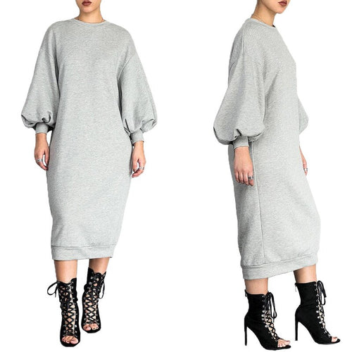 Cotton Sweatshirt Dress Bishop Sleeve Long Sweatshirt (Loose Plus Size) Dress