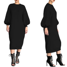 Load image into Gallery viewer, Cotton Sweatshirt Dress Bishop Sleeve Long Sweatshirt (Loose Plus Size) Dress