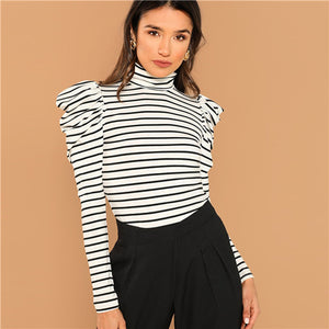 Women's Striped Pullovers Long Sleeve High Neck Tee