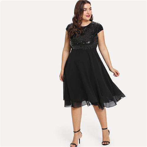 Plus Size Black Solid High Waist Sequin Party Midi Dresses