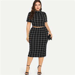 Plus Size Two Piece Set Mock Neck Short Sleeve Plaid Crop Top And Skirt Set