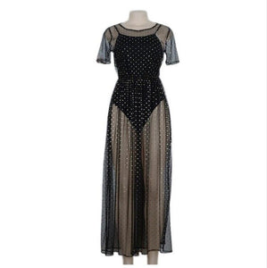 Women Short Sleeve Sequin Polka Dot Sheer Dress (Small)