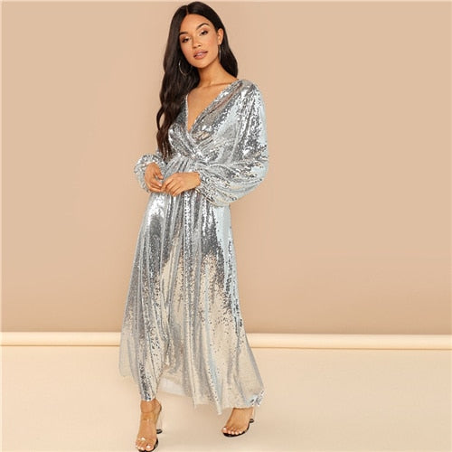 Silver Bishop Sleeve Wrap Front Sequin V Neck Fit and Flare Long Sleeve Dress