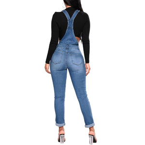 Women's Denim Overalls Ripped Stretch Plus Size Jumpsuit