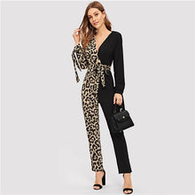Load image into Gallery viewer, Deep V Neck Contrast Leopard Print Belted Jumpsuit