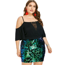 Load image into Gallery viewer, The Sparkle Dress - Short Sleeve Cold Shoulder Sequin Party Dress - 0111