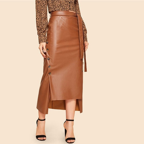Brown Elegant Split Hem Front Double Button Belted Faux Leather Skirt