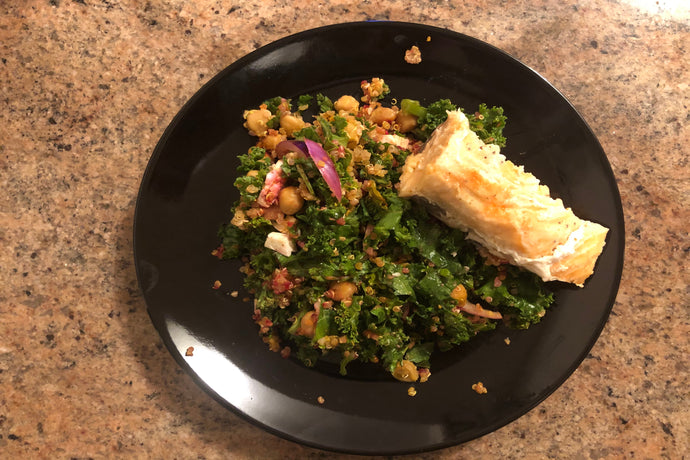 Baked Salmon with Loaded Kale and Quinoa Salad