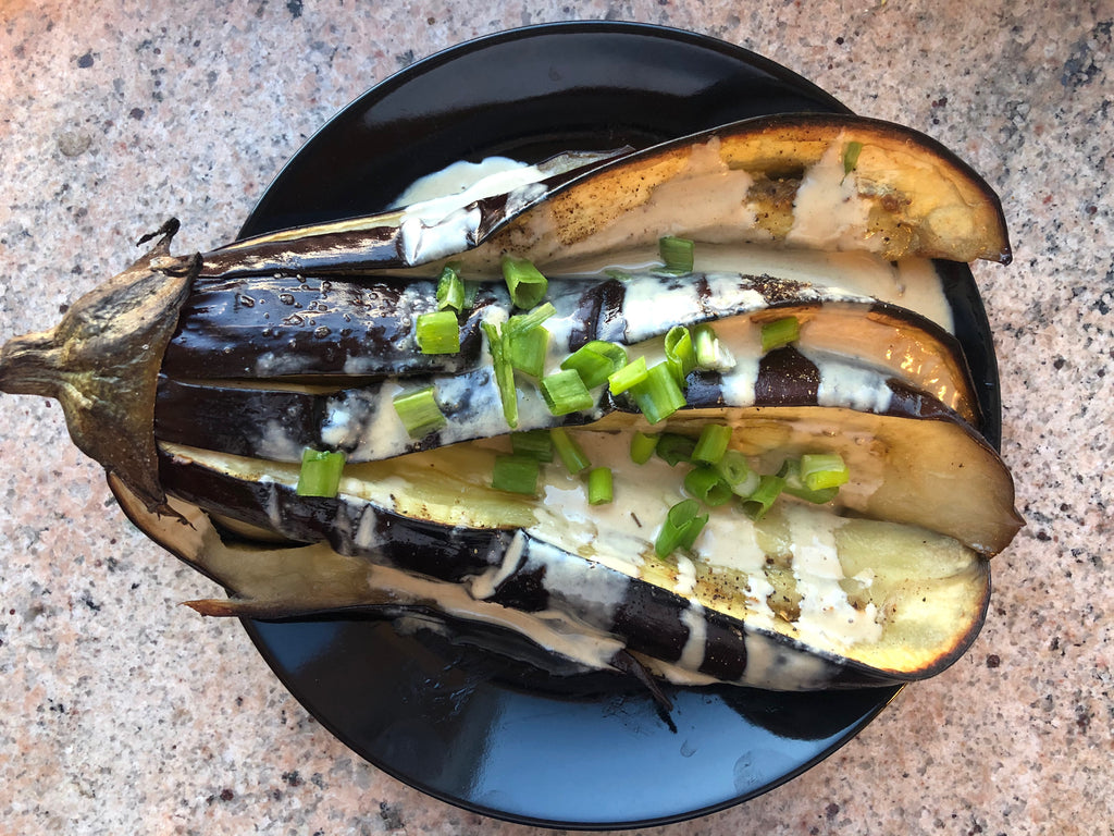 Baked eggplant and tahini - healthy foodie - ILYNSI Yoga