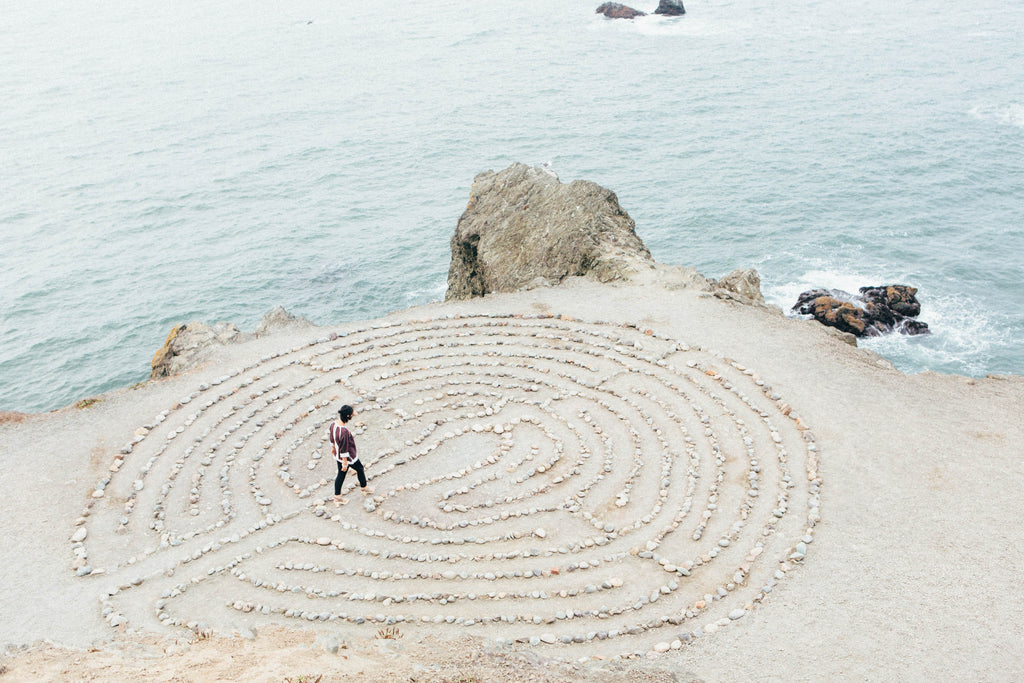 Person walking within a maze like pattern on the sand - Karma Series: The Law of Responsibility - ILYNSI Yoga