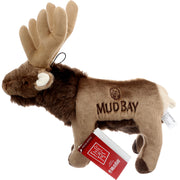 Left view of brown elk stuffed animal dog toy