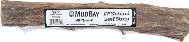 Mud Bay Natural Beef Strap 12 inch (4-Pack)