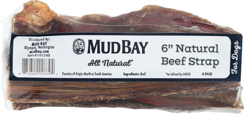Mud Bay Natural Beef Strap 6 inch (4-Pack)