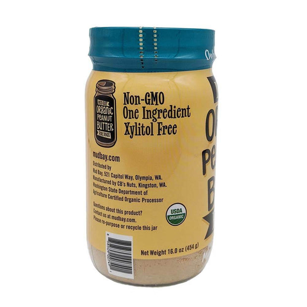 Xylitol-Free Jar: natural dog peanut butter jar back view