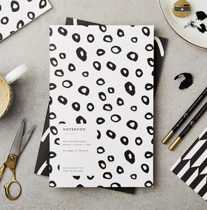 KATIE LEAMON Paperback Notebook - Black & White Hoops