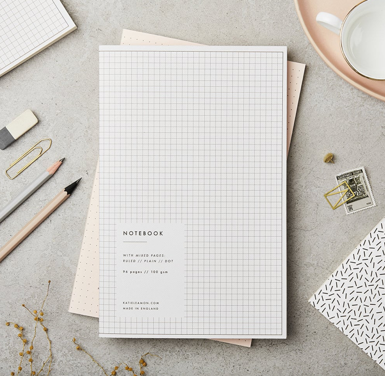KATIE LEAMON Paperback Notebook - Grey Grid