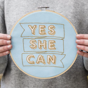 Yes She Can Embroidery Hoop Kit -BLUE/GOLD - by Cotton Clara