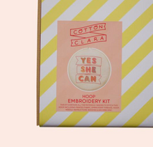 Yes She Can Embroidery Hoop Kit -PINK/RED - by Cotton Clara