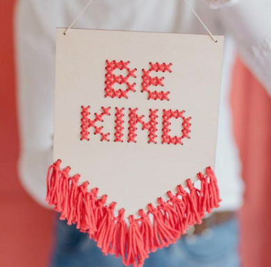 Be Kind Tasseled Embroidery Banner Kit - CORAL - by Cotton Clara