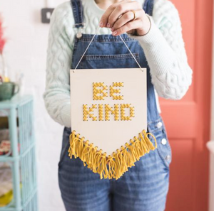 PRE-ORDER: Be Kind Tasseled Embroidery Banner Kit - MUSTARD - by Cotton Clara