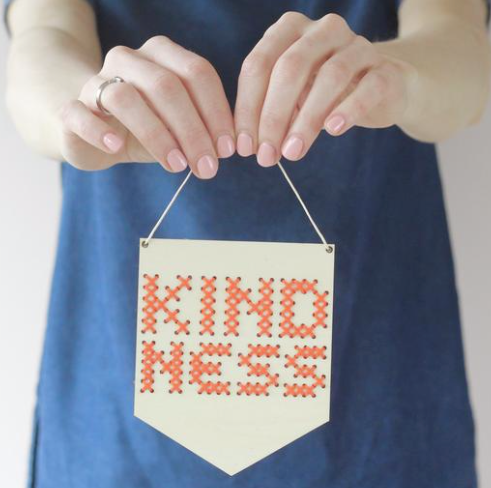 Kindness Mini Cross Stitch Embroidery Kit - by Cotton Clara