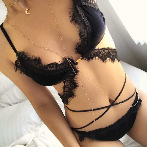 Victoria Velvet Lace Bralette in Black