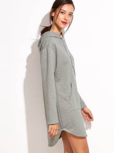 Grey Hooded Pocket Sweatshirt Dress
