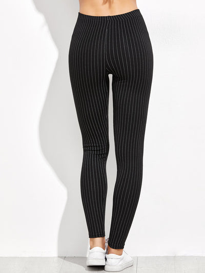 Black High Waist Vertical Striped Leggings