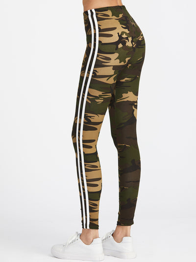 Camo Print Striped Side Leggings