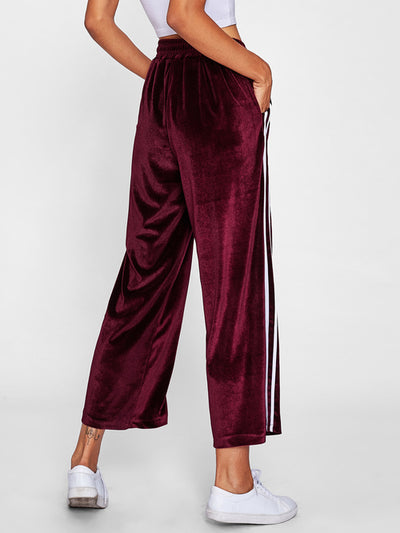 Striped Tape Side Velvet Wide Leg Pants