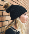 Hip Black Cable Knit Fur Pom Beanie