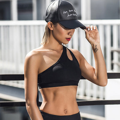 Sexy One Shoulder Solid Sports Bra Women Fitness