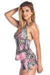 Women's Pink True Timber Tankini Top/Shorts