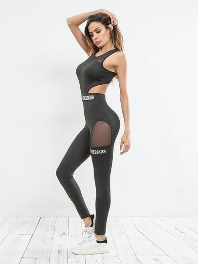 Mesh Panel Cut Out Gym Fitness Jumpsuit