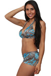 Women's Blue True Timber Halter Top & Hot Shorts