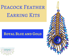 *KITS_Peacock Feather Earrings_Royal Blue and Gold_Full Kits or Beads Only