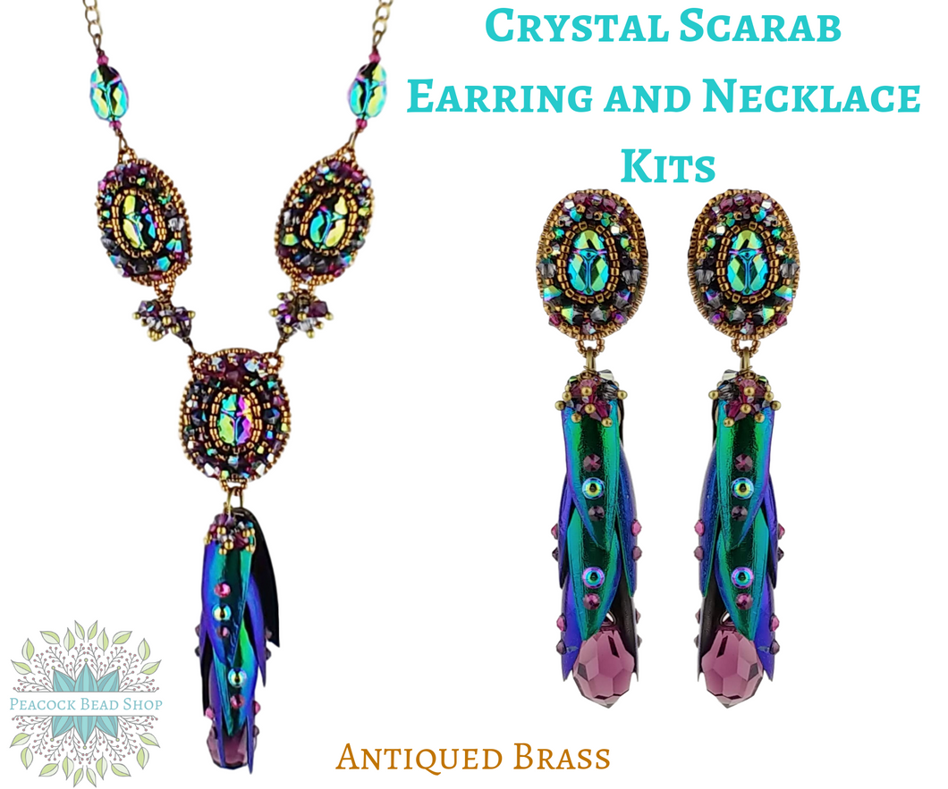 Crystal Scarab Earring and Necklace Kits_Antiqued Brass
