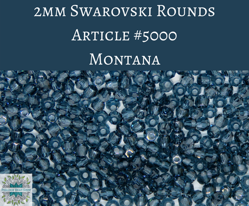 50 beads) 2mm Swarovski Crystal Rounds_Montana_Article #5000
