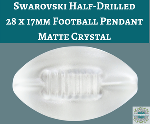 1 pc) 28x17mm Swarovski Crystal Half-drilled Football Pendant_Matte Crystal Clear