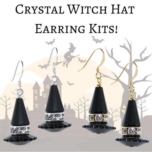 KIT Crystal Witch Hat Earrings_Silver or Gold_Vintage Swarovski Crystal