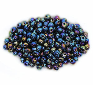 3.4mm Drop Beads_Metallic Variegated Blue Iris_Miyuki #455_12 grams